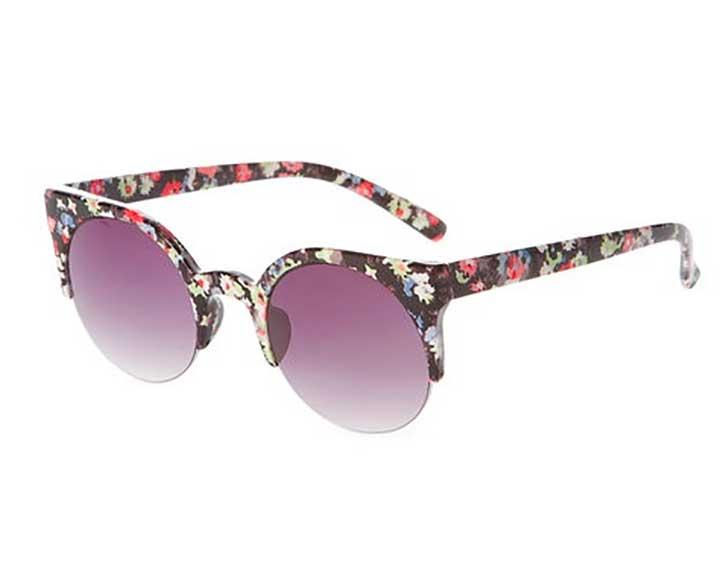 Black Floral Print Cat Eye Sunglasses