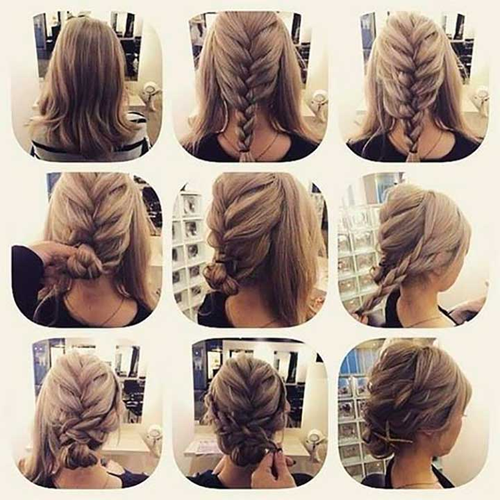French braid and two normal braids