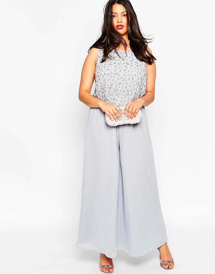 Premium Jumpsuit With Palazzo Pants And Embellished Overlay