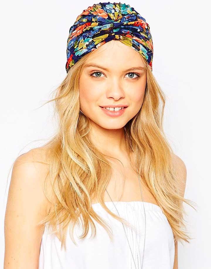 ASOS Floral Pleated Turban