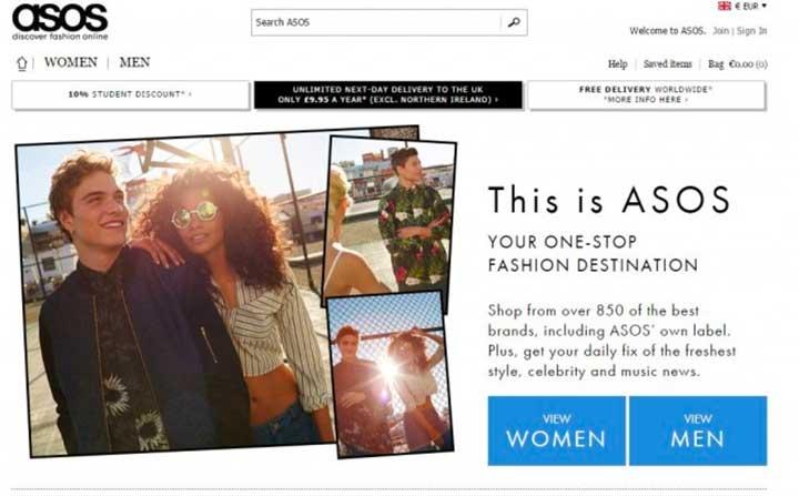 Favorite online shopping brand: ASOS