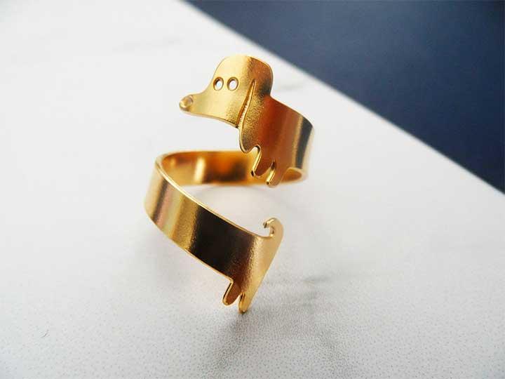 Etsy Adjustable Daschund Ring