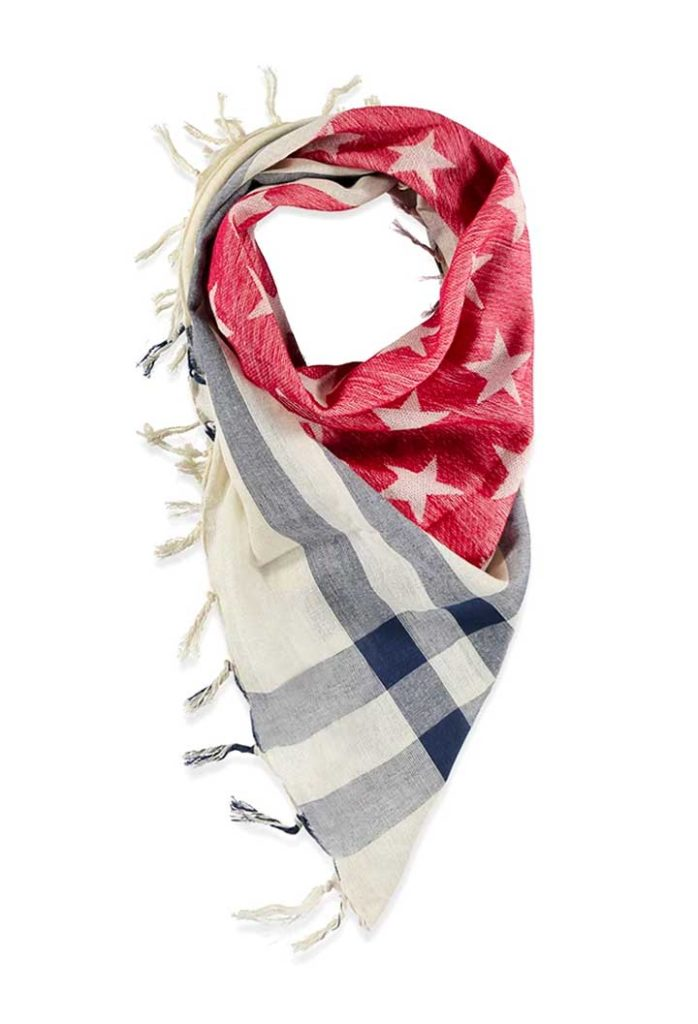 American Flag Tasseled Scarf