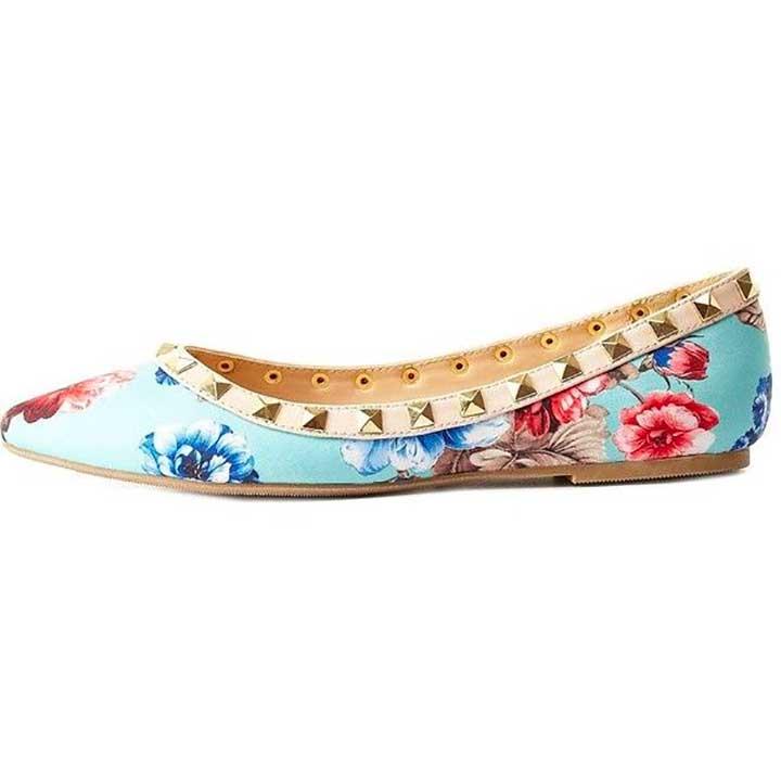 Charlotte Russe Studded Floral Flats