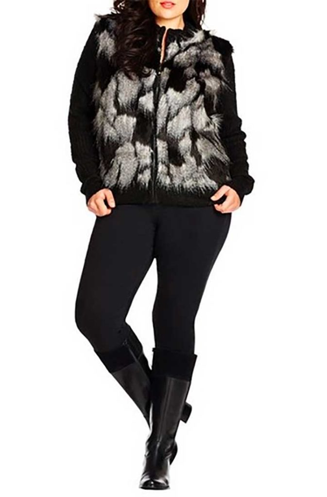 City Chic Faux Fur Front Cardigan