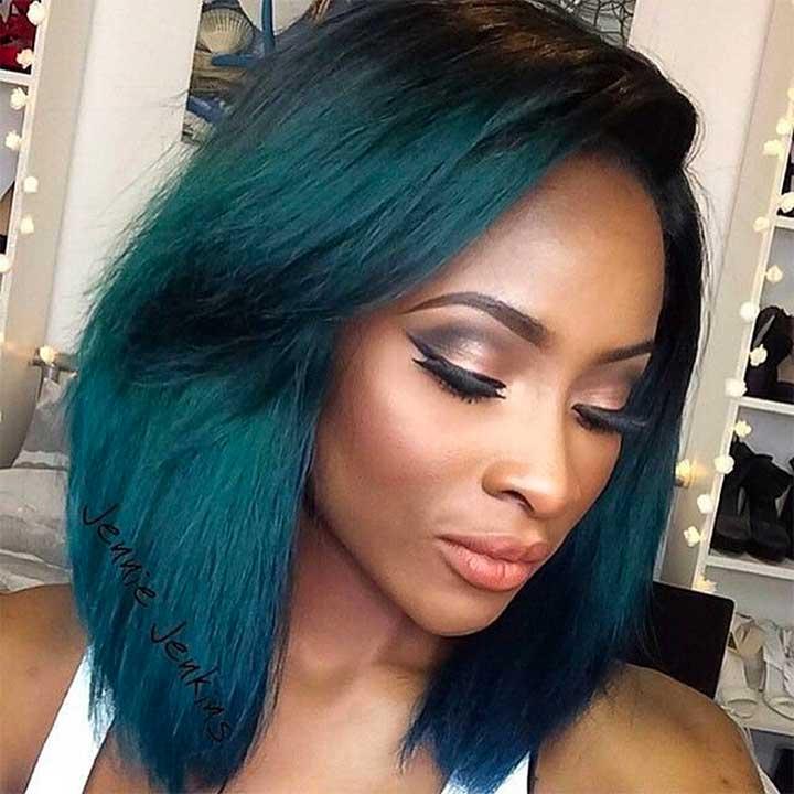 Deep Blue-Green Hair Color