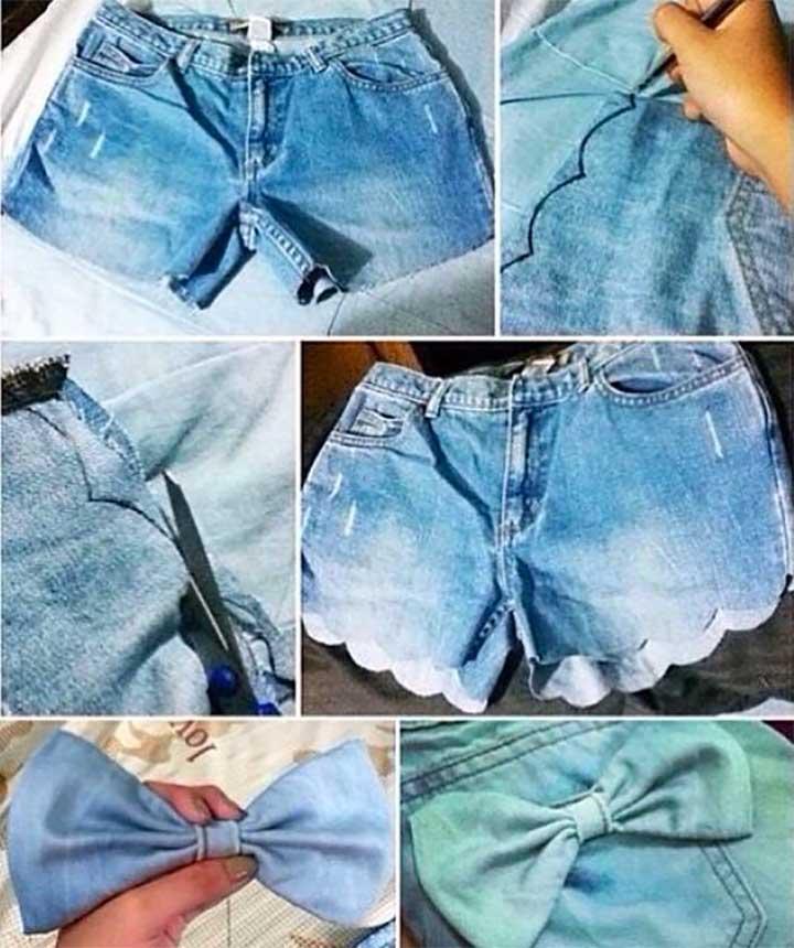 Denim Bow Shorts