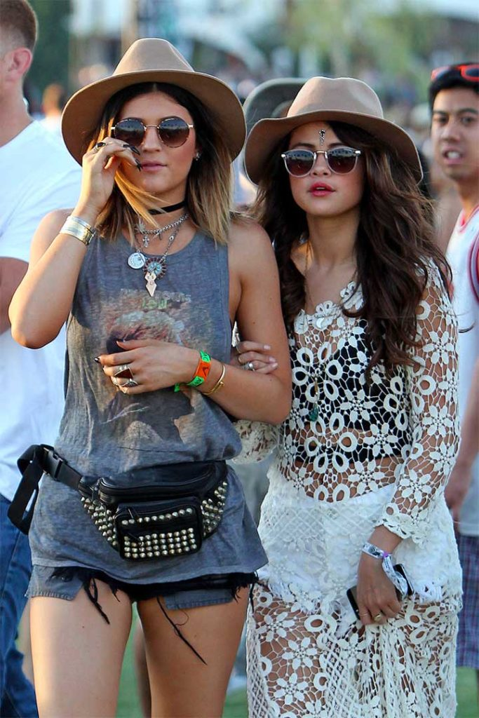 Selena Gomez is joined by Kendall and Kylie Jenner on day one of week one at The Coachella Music Festival in Indio