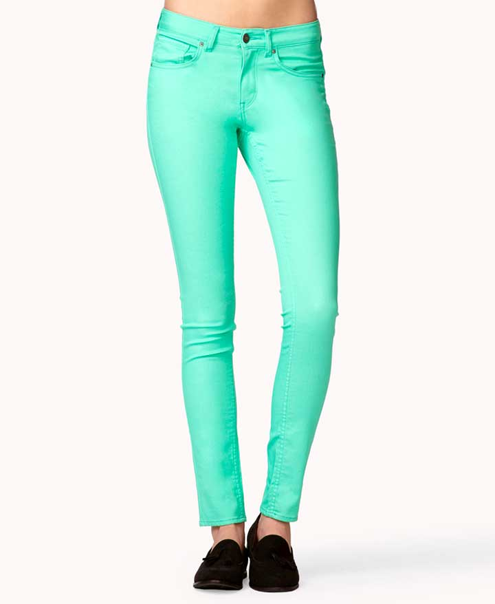 Forever 21 Turquoise Skinny Jeans