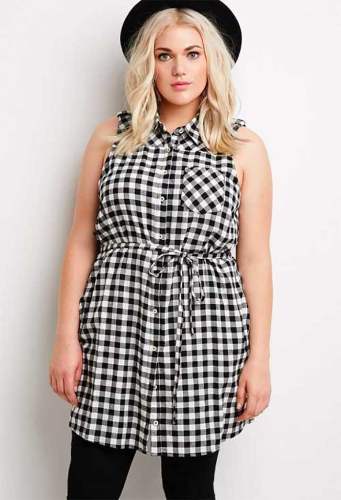 Forever 21 gingham plus-size shirt dress