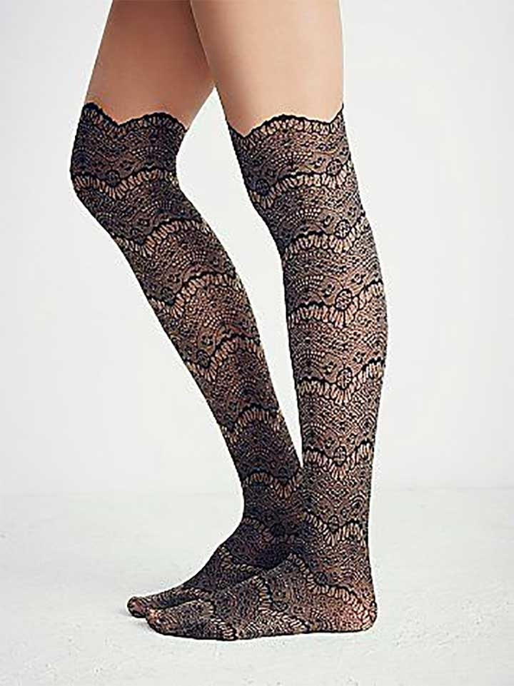 Free People Westend Lace Cuff Tights