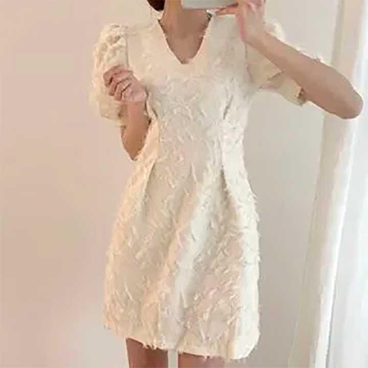 Fringed-Hem Printed Short-Sleeve Dress