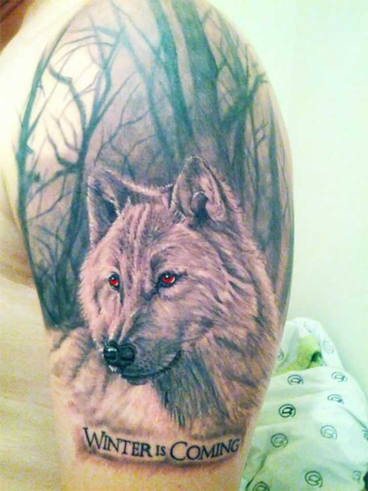 Game of Thrones Tattoos: Winter is coming wolf