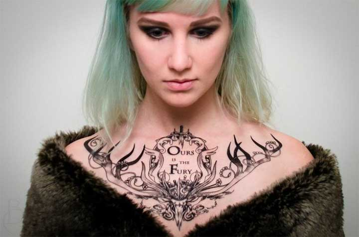 Game of Thrones tattoo: ours is the fury chestpiece
