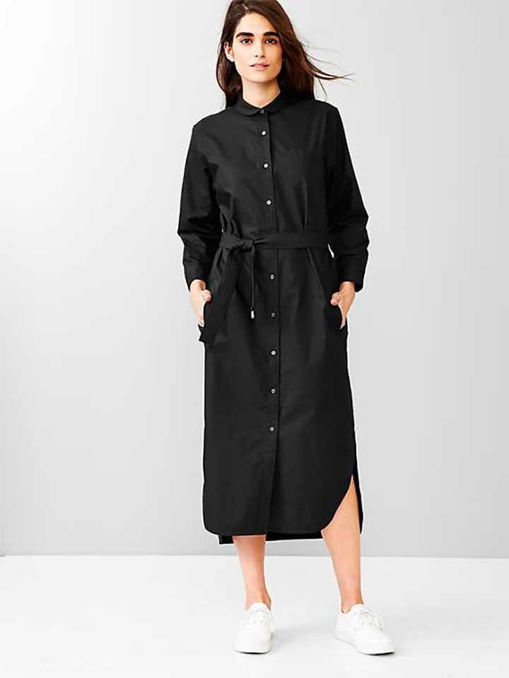 Gap black midi shirt dress