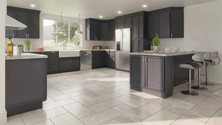Modern kitchen with gray RTA cabinets.