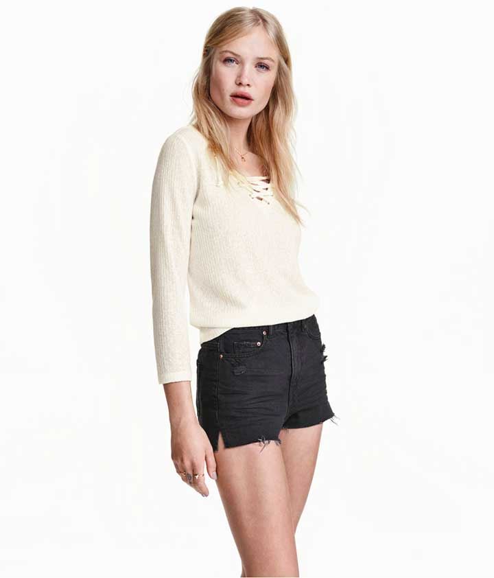 Fine-Knit Top With Lacing, H&M