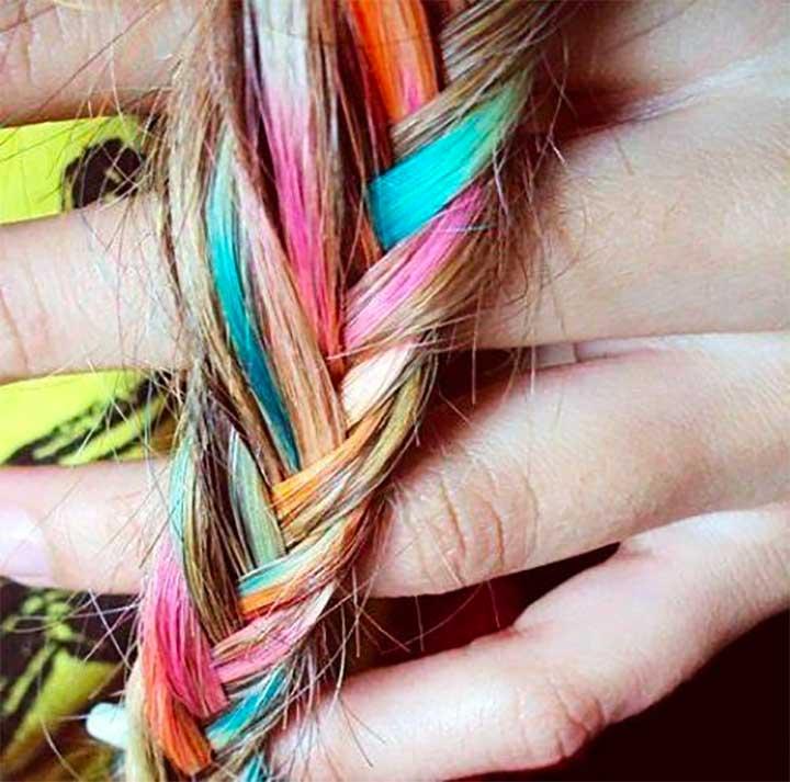 Hair Chalk Multi Colored Braid
