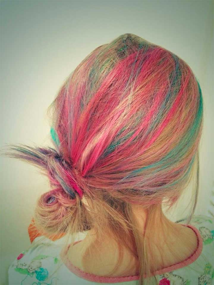 Hair Chalk Pink and Blue Highlights