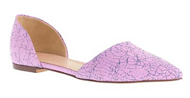 J. Crew Crackled Leather D'Orsay Flats