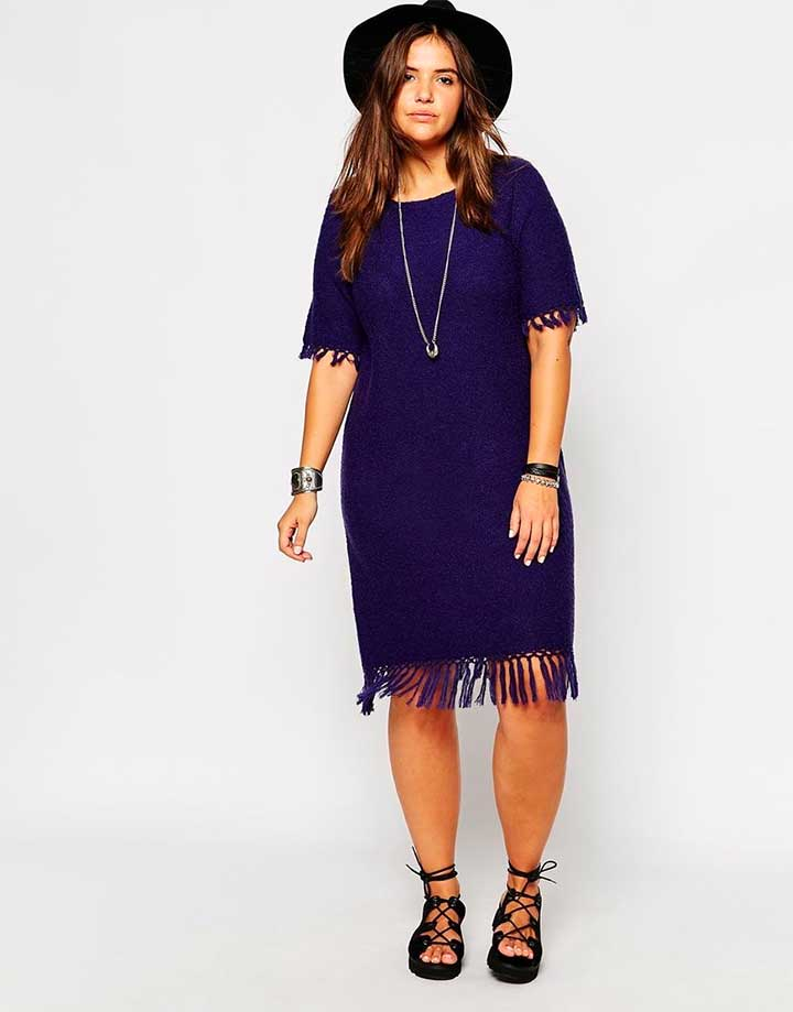 ASOS CURVE Knit Dress With Fringing