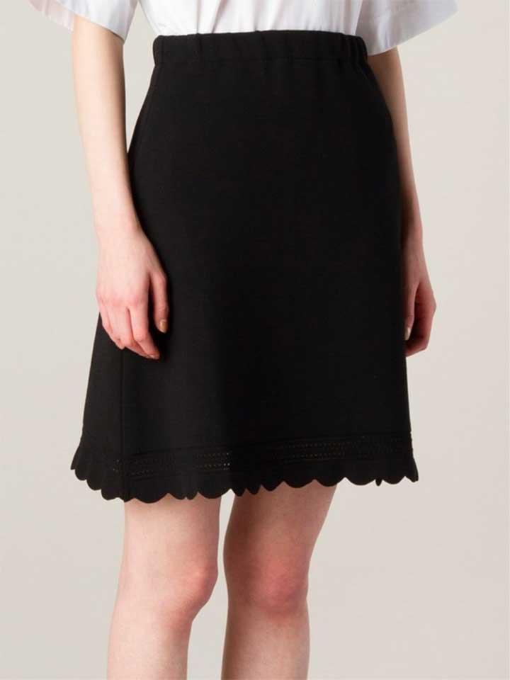 Le Ciel Bleu Scalloped Hem A-Lin Skirt