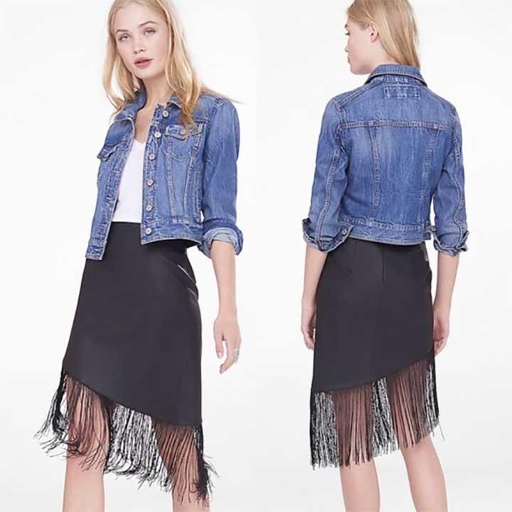 Asymmetrical Leather Fringe Skirt