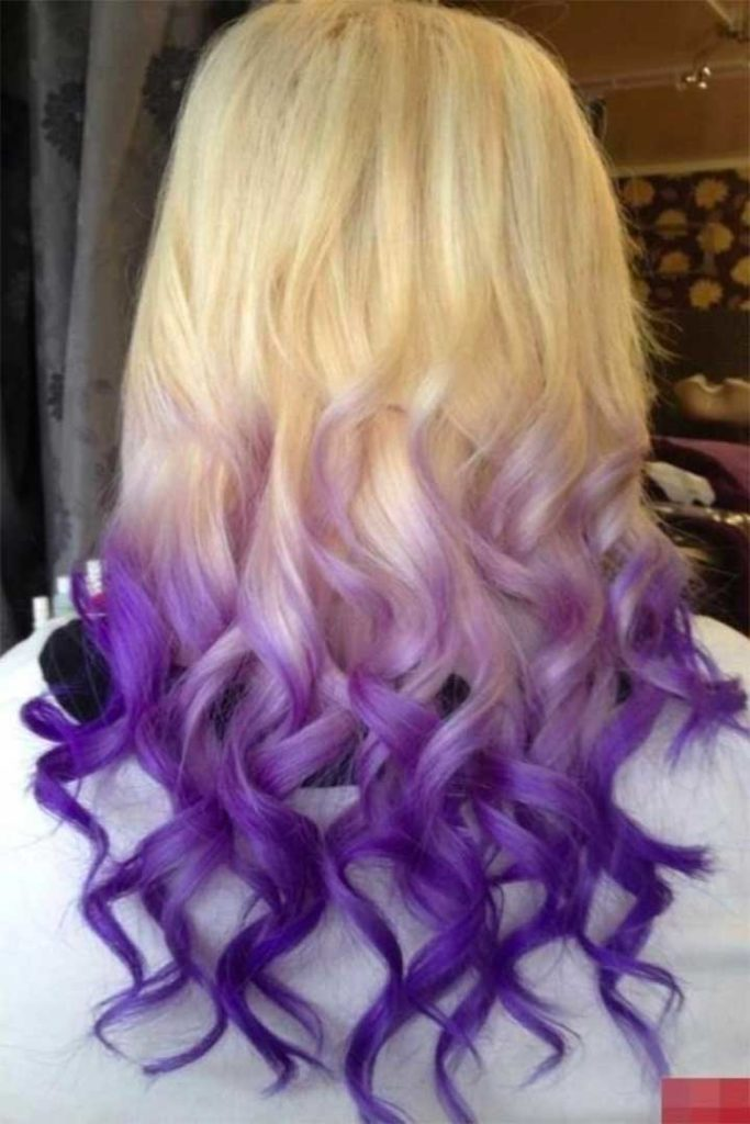 Dip Dyed Hairstyles: Lilac To Purple Ends