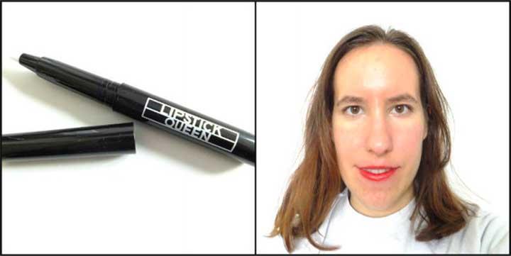 Vesuvius Liquid Lipstick in Vesuvian Red: Lipstick Test Lipstick Queen