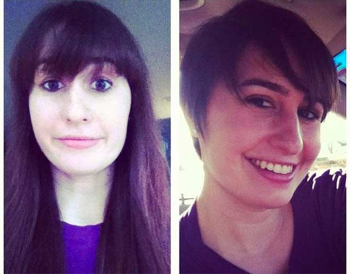 Meg Malone Long Hair Pixie Cut Before After