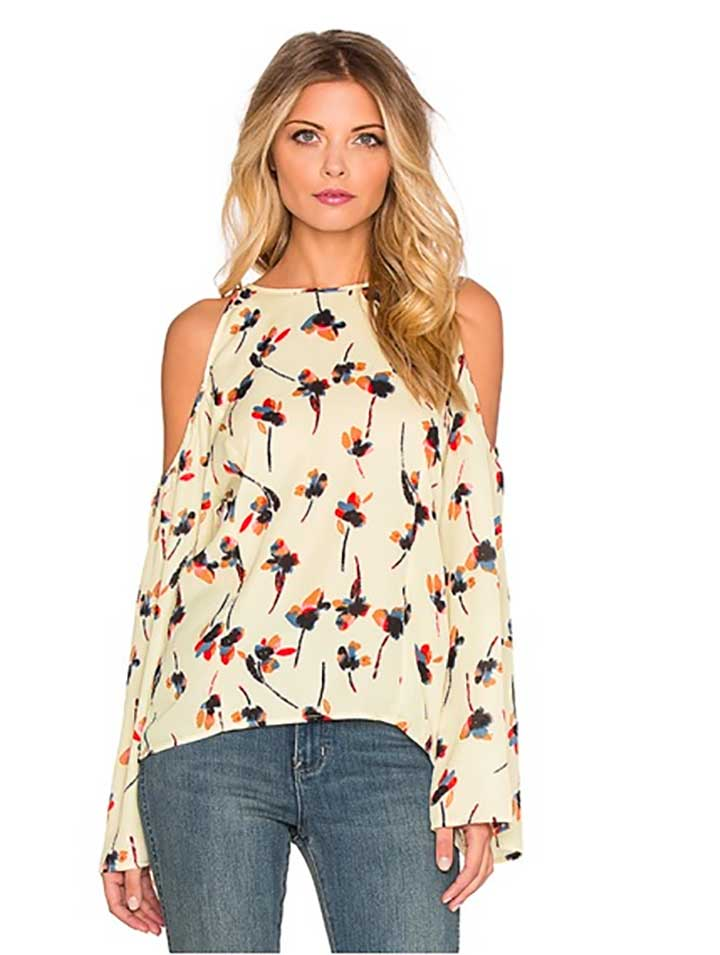 Lucca Couture Cold Shoulder Flare Sleeve Top