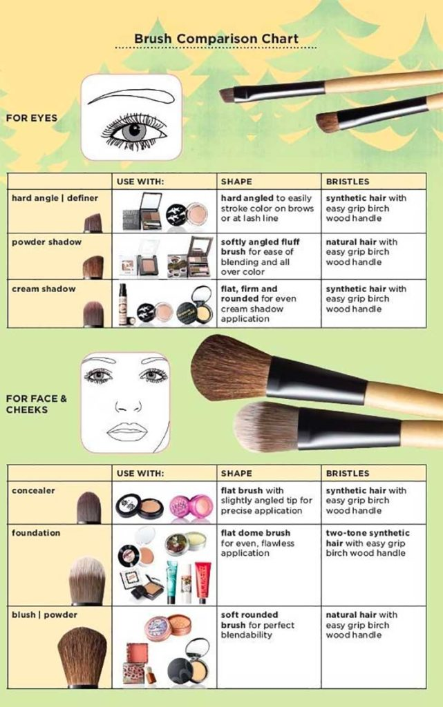 Makeup brushes with what products