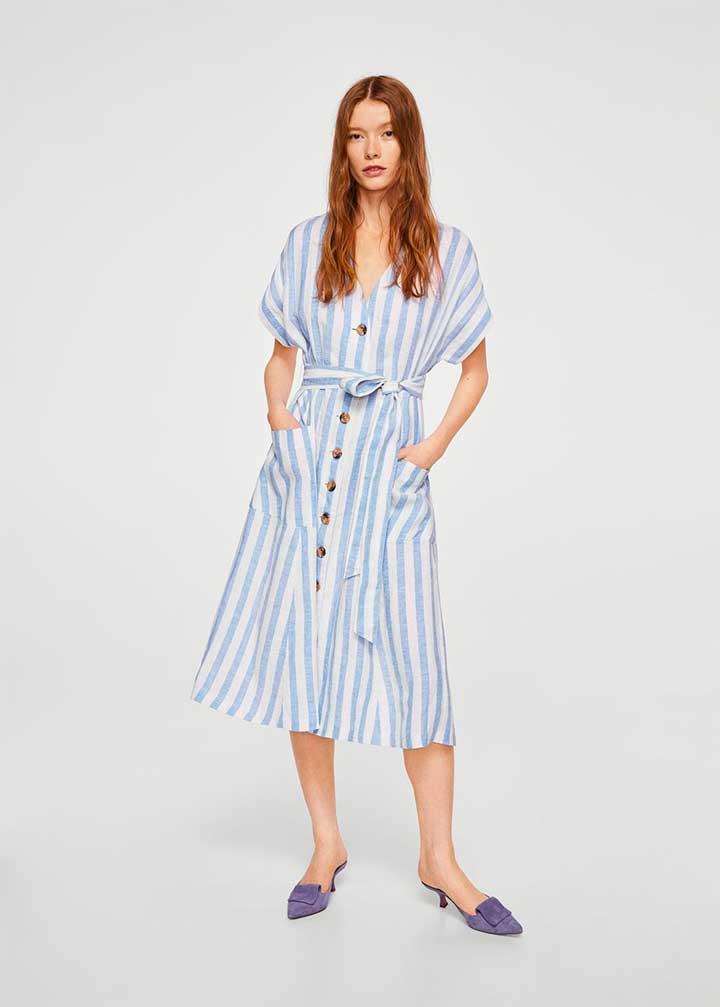 Mango Striped Linen-Blend Dress