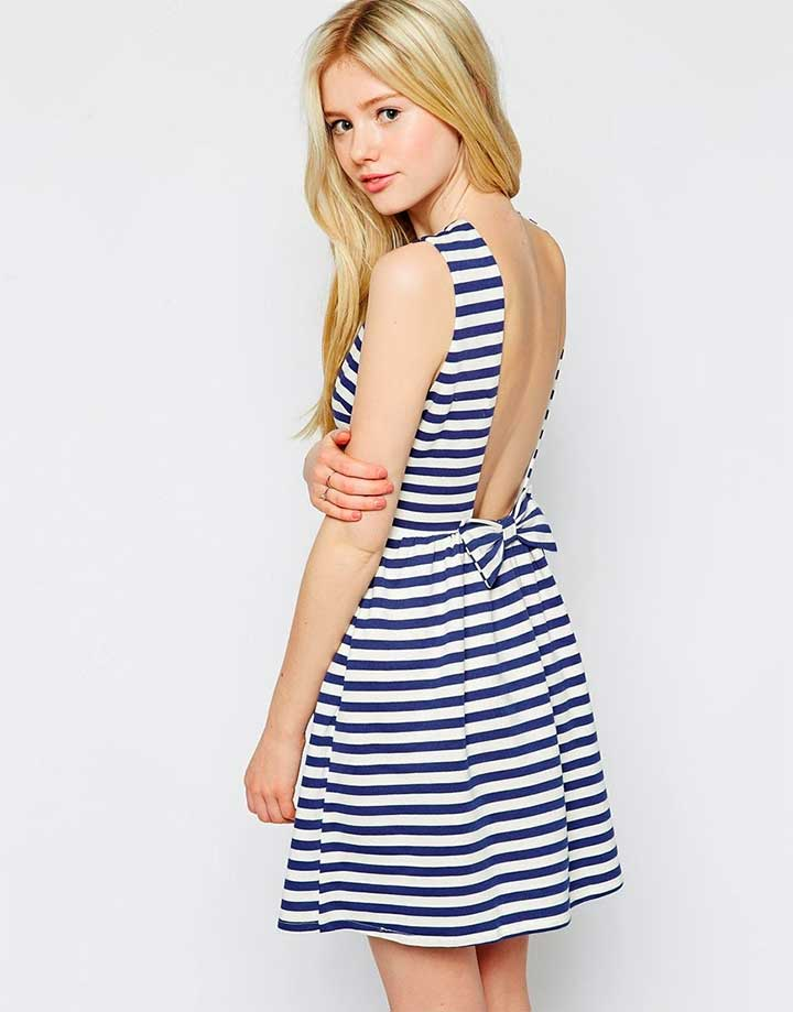 Max C London Stripe Dress With Low Back