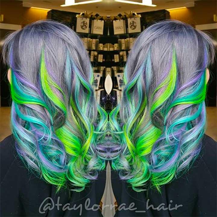 Metallic Gray Hair Green and Purple Hair Color