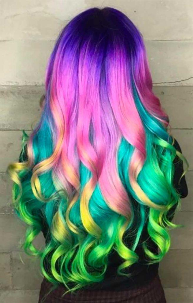 Metallic Rainbow Hair Color