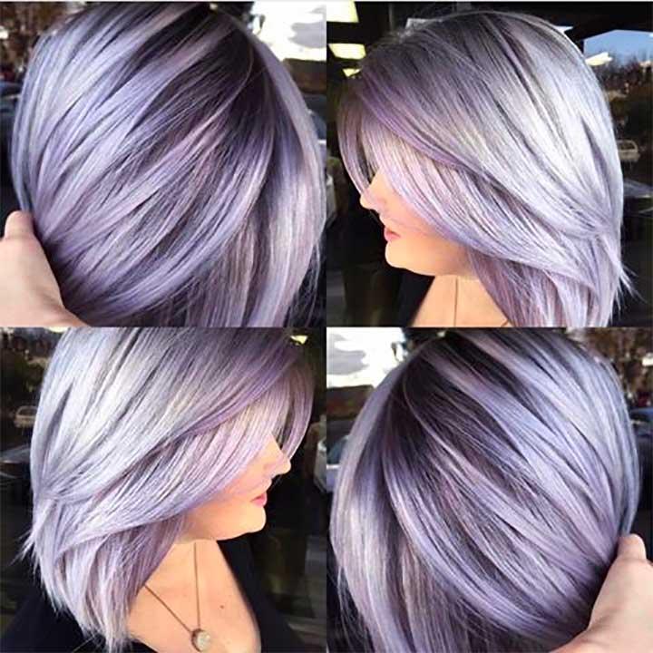 Metallic Silver Lavender Hair Color