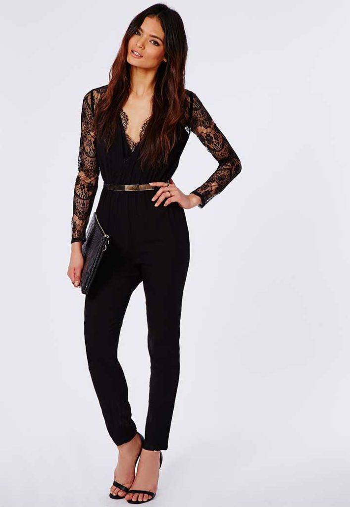 Missguided Lace Sleeve Jumpsuit