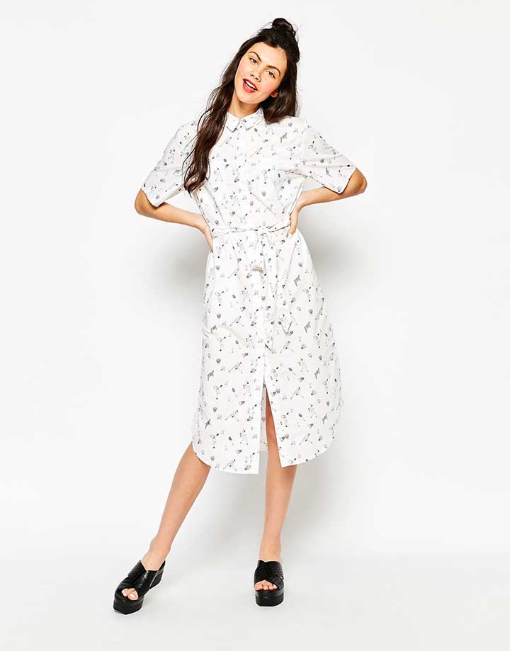 Monki shirt dress with print
