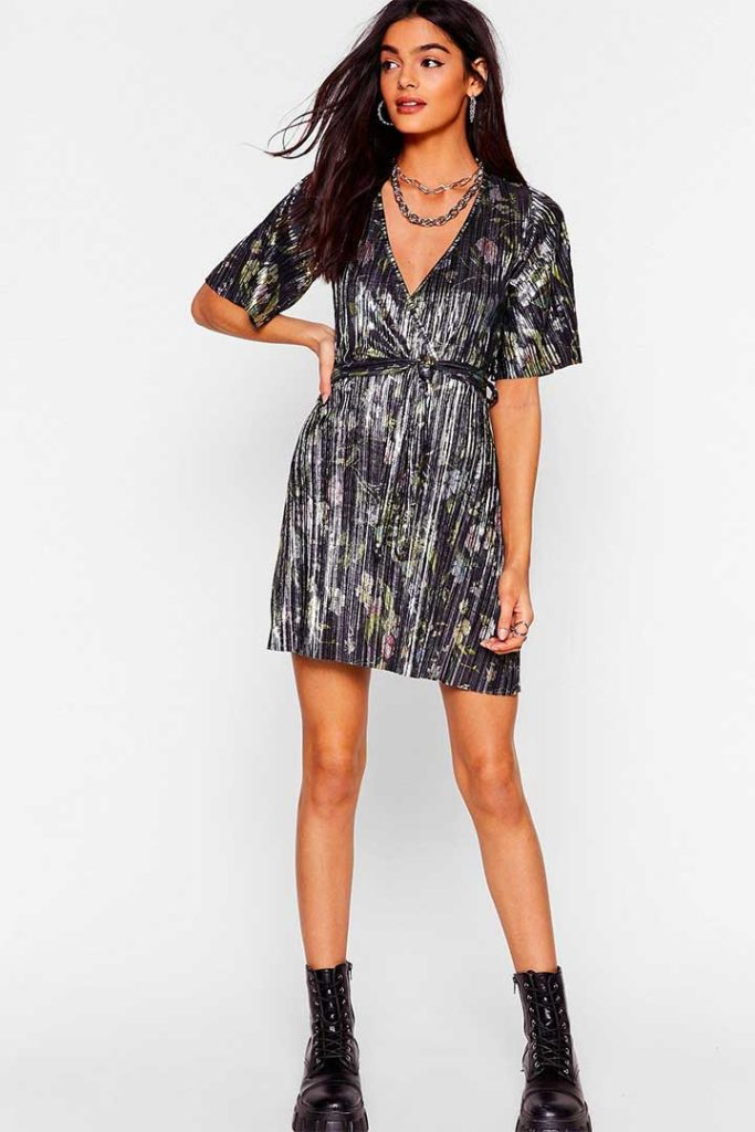 Nasty Gal Go With The Floral Metallic Dress