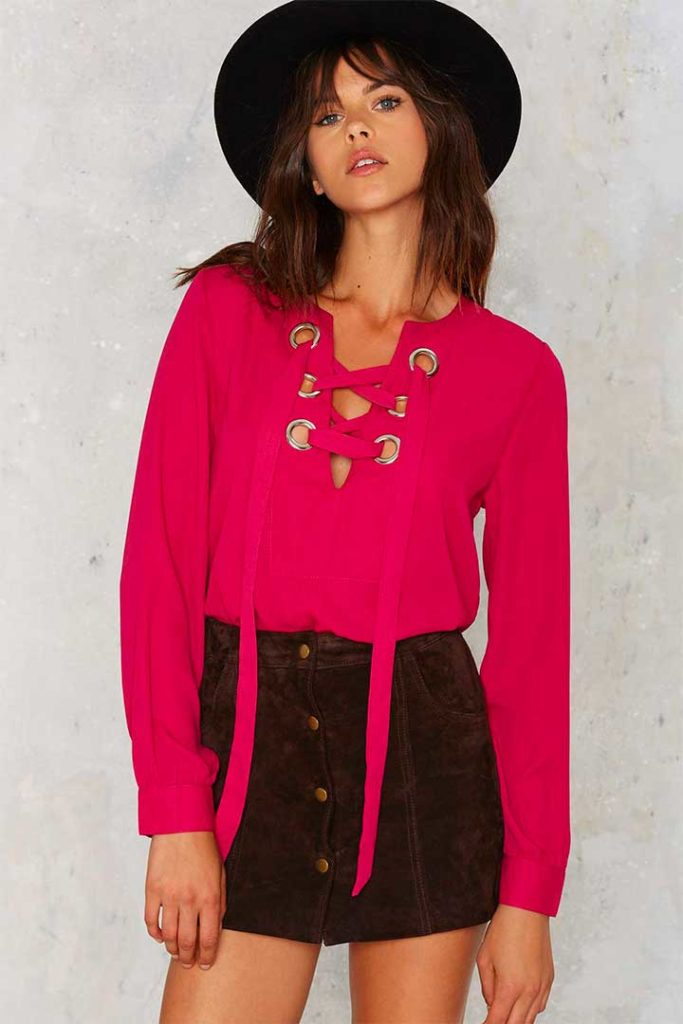 Nasty Gal Lace-Up Top