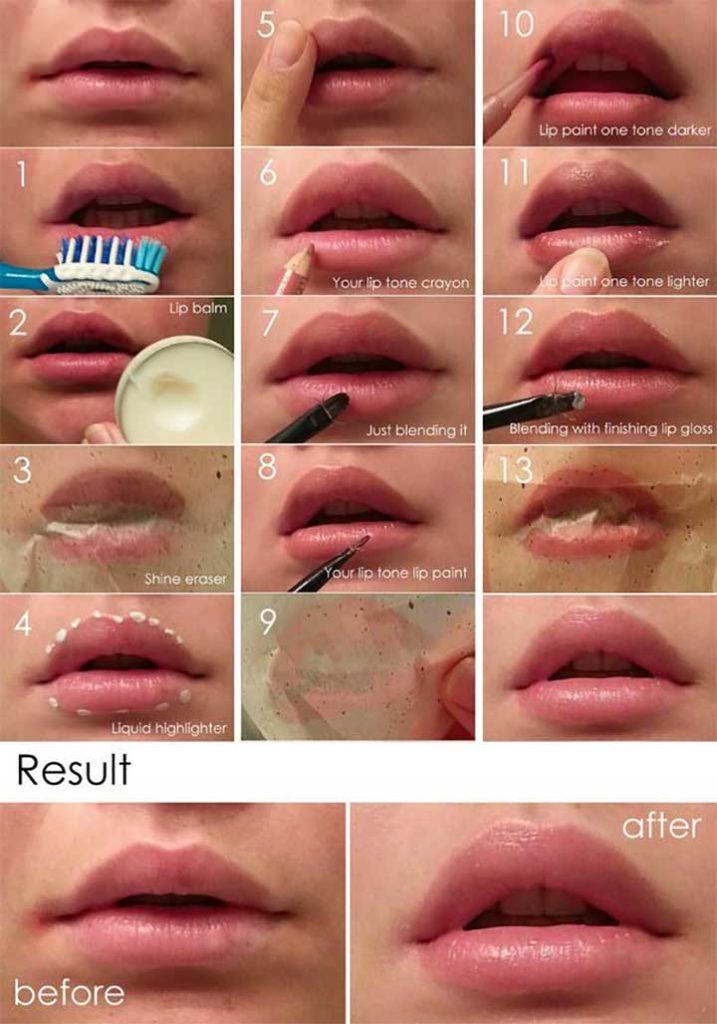 Natural-looking lip plumping tutorial