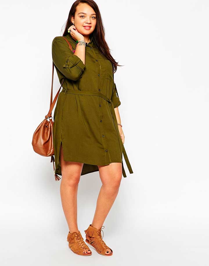 New Look Inspire army green shirt dress
