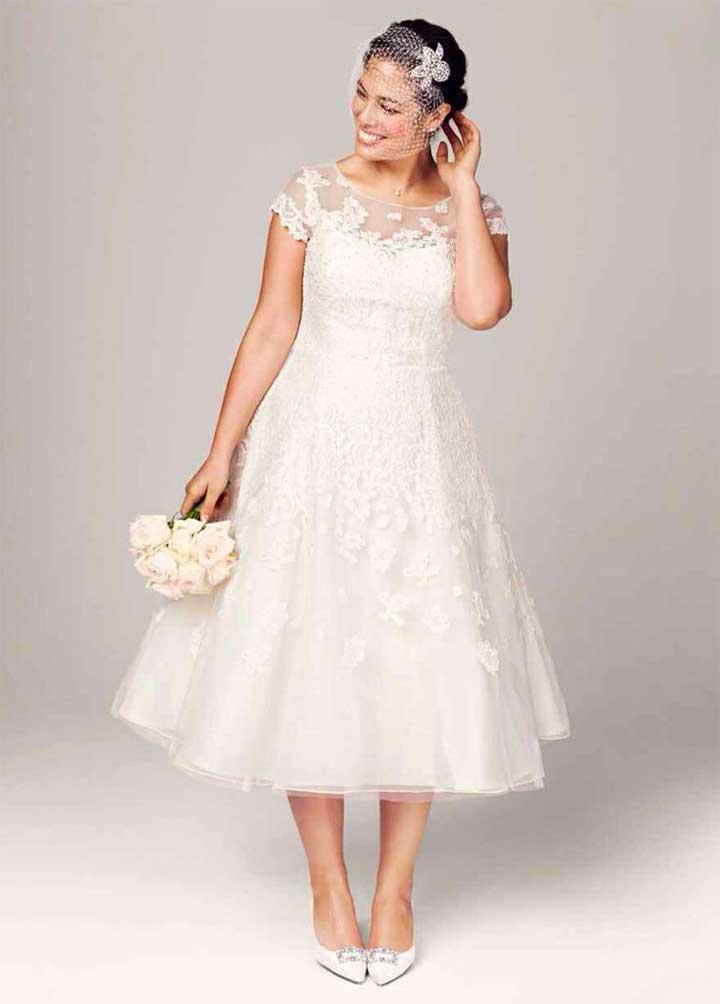 Oleg Cassini Cap Sleeve Wedding Dress