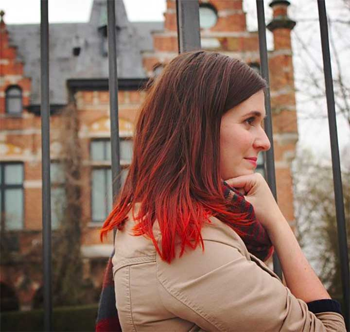 The Dip-Dyed Hairstyles -  Orange Red Ends