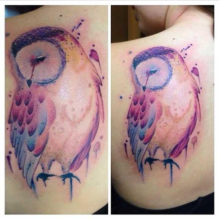 Owl Watercolor Tattoos