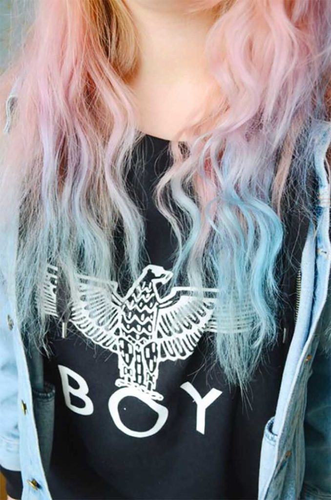 Pastel Blue Ends Pink Hair