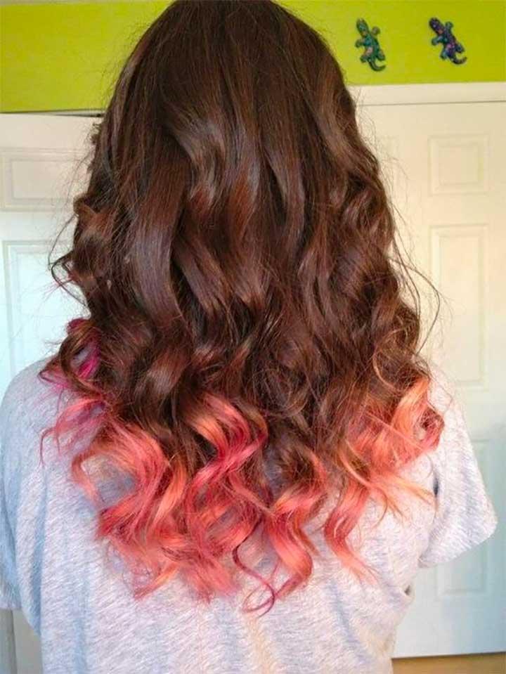 Peach Dip Dyed Hair