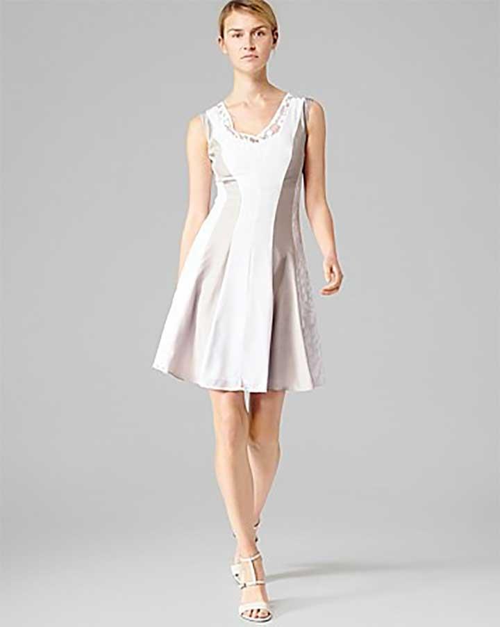 REISS Seville Lace Silk Inset Flow Dress
