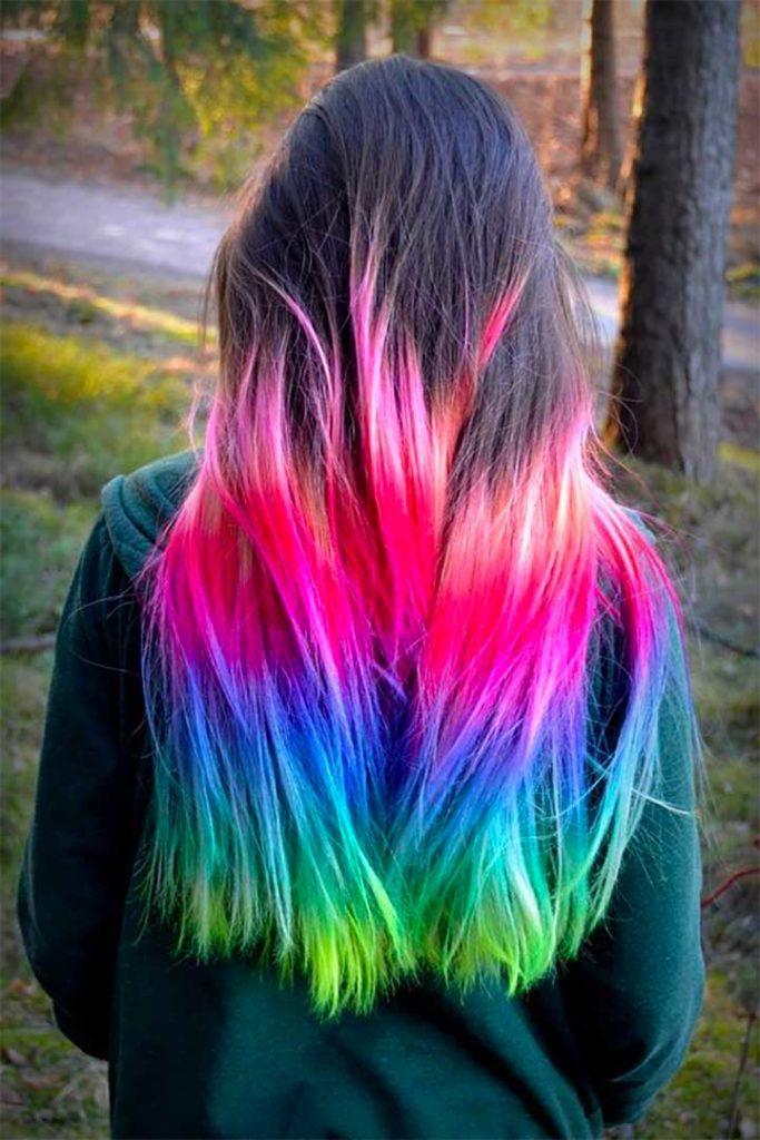 Dip Dyed Hair Photos: Rainbow Ends